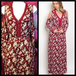 red floral long sleeve cold shoulder maxi